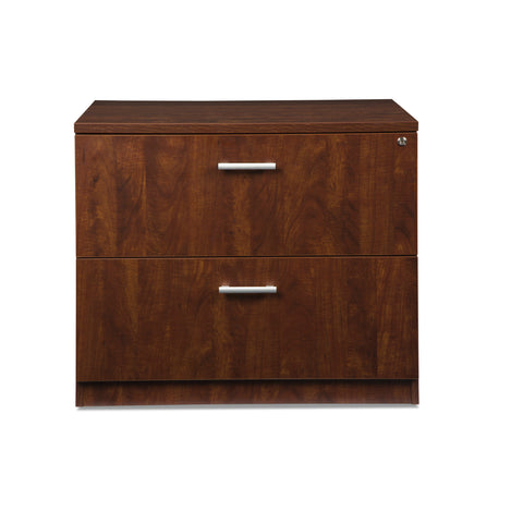 OFM Fulcrum Series Locking Lateral File Cabinet, 2-Drawer Filing Cabinet, Cherry (CL-L36W-CHY) ; UPC: 845123097588 ; Image 2