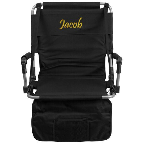 Embroidered Folding Stadium Chair in Black; (UPC: 889142017240); Black