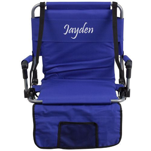 Embroidered Folding Stadium Chair in Blue; (UPC: 889142017301); Blue