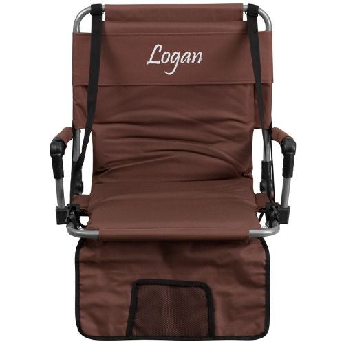 Embroidered Folding Stadium Chair in Brown; (UPC: 889142017257); Brown