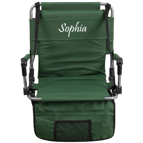 Embroidered Folding Stadium Chair in Green; (UPC: 889142017295); Green