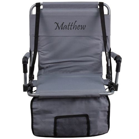 Embroidered Folding Stadium Chair in Gray; (UPC: 889142017271); Gray