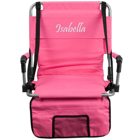 Embroidered Folding Stadium Chair in Pink; (UPC: 889142017318); Pink