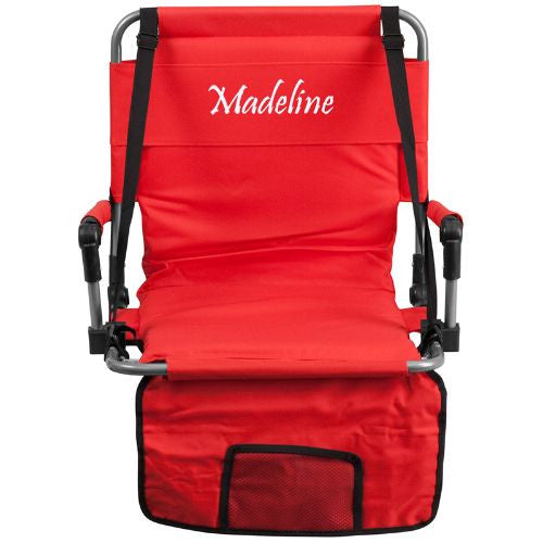 Embroidered Folding Stadium Chair in Red; (UPC: 889142017264); Red