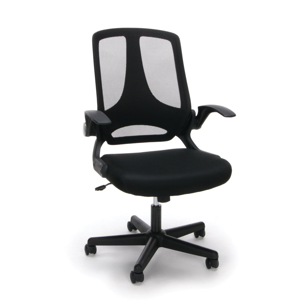 Essentials by OFM ESS-3045 Mesh Upholsterd Flip-Arm Task Chair, Black ; UPC: 845123089262 ; Image 1