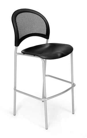 OFM 338S-P-BLK Moon Cafe Height Plastic Silver Chair, Black ; UPC: 845123021675 ; Image 1