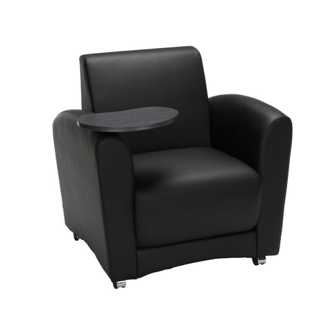 OFM InterPlay Series Single Seat Chair with Tungsten Tablet, in Black (821-PU606-TNGST) ; UPC: 845123031001 ; Image 1