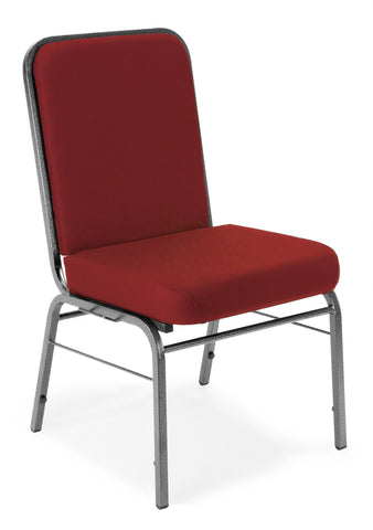 OFM Comfort Class Series Model 300-SV Fabric Stack Chair with Silver Vein Frame, Wine ; UPC: 811588013395 ; Image 1