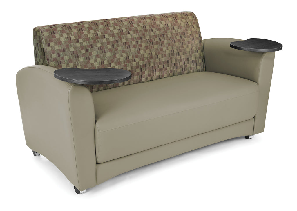 OFM InterPlay Series Model 822 Double Tablet Sofa, Taupe Seat with Plum Back and Tungston Tablet ; UPC: 845123031162 ; Image 1