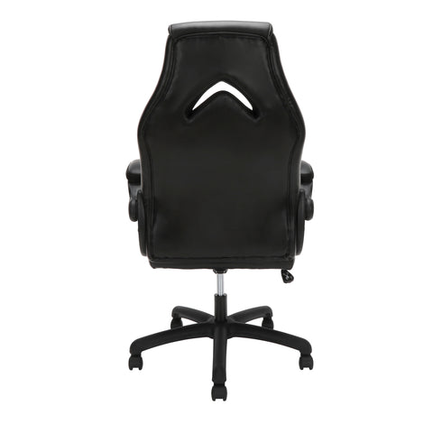 OFM Essentials Collection High-Back Racing Style Bonded Leather Gaming Chair, in Black (ESS-3086-BLK) ; UPC: 192767002554 ; Image 3