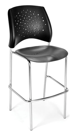 OFM 328C-P-BLK Stars Cafe Height Plastic Chair, Black ; UPC: 845123012994 ; Image 1