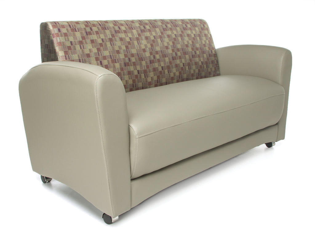 OFM InterPlay Series Model 822-NT Double Seating Sofa, Taupe Seat with Plum Back ; UPC: 845123048467 ; Image 1