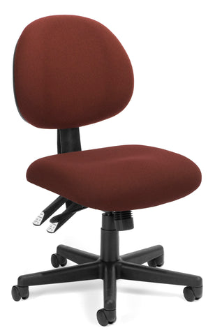 OFM Model 241 24-Hour Ergonomic Multi-Adjustable Upholstered Armless Task Chair, Burgundy ; UPC: 811588013432 ; Image 1