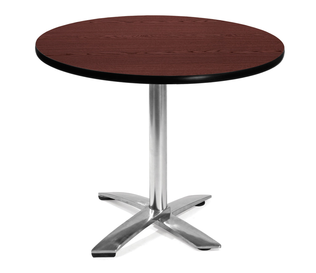 "OFM Model FT36RD 36"" Round Flip-Top Multi-Purpose Table, Mahogany ; UPC: 811588010035 ; Image 1"