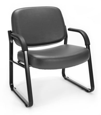 OFM Model 407-VAM Big and Tall Guest and Reception Chair with Arms, Anti-Microbial/Anti-Bacterial Vinyl, Charcoal ; UPC: 845123028605 ; Image 1