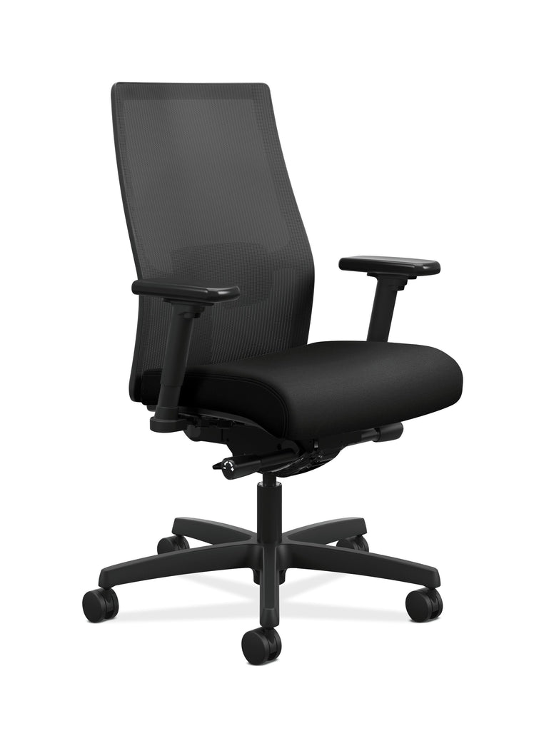 HON Ignition 2.0 Mid-Back Adjustable Lumbar Work Chair - Black Mesh Computer Chair for Office Desk, Black Fabric (HONI2M2AMLC10TK) ; UPC: 888206730743 ; Image 1