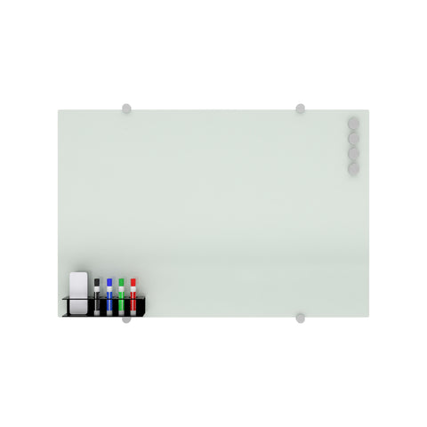 OFM Core Collection Magnetic Glass Whiteboard with Magnetic Marker Caddy, 36 x 24 (GB3624-REC-WHT) ; UPC: 192767001700 ; Image 2
