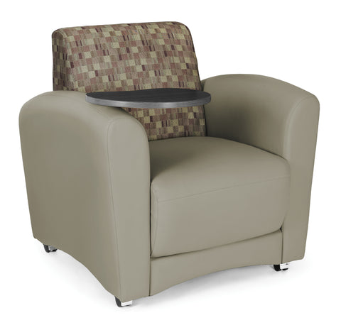 OFM InterPlay Series Upholstered Guest / Reception Chair, Plum/Taupe, Tungsten Tablet ; UPC: 845123031049 ; Image 1