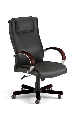 OFM Apex Series Model 560-L Leather High-Back Executive Office Chair, Black with Mahogany ; UPC: 845123003275 ; Image 1