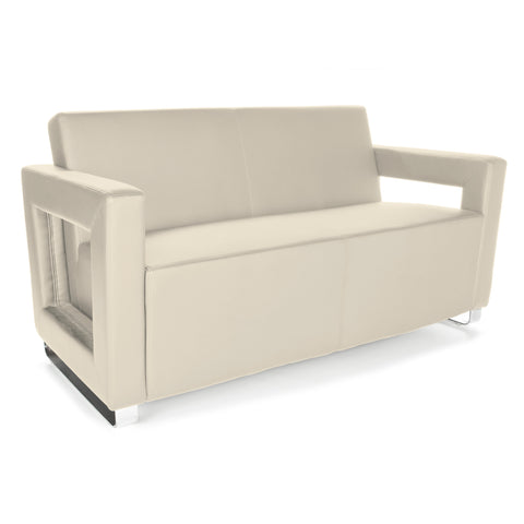 OFM Distinct Series Model 832 Soft Seating Lounge Sofa, Polyurethane, Cream with Chrome Base ; UPC: 845123034361 ; Image 1