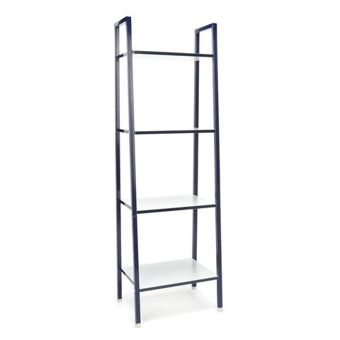 Essentials by OFM ESS-1045 4-Shelf Free Standing Ladder Bookshelf, White with Blue Frame ; UPC: 845123095577 ; Image 1