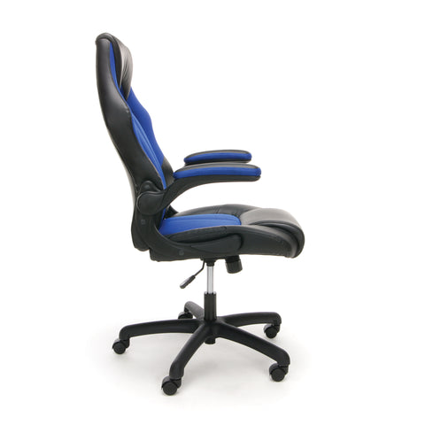 OFM Essentials Collection High-Back Racing Style Bonded Leather Gaming Chair, in Blue (ESS-3086-BLU) ; UPC: 845123090633 ; Image 4