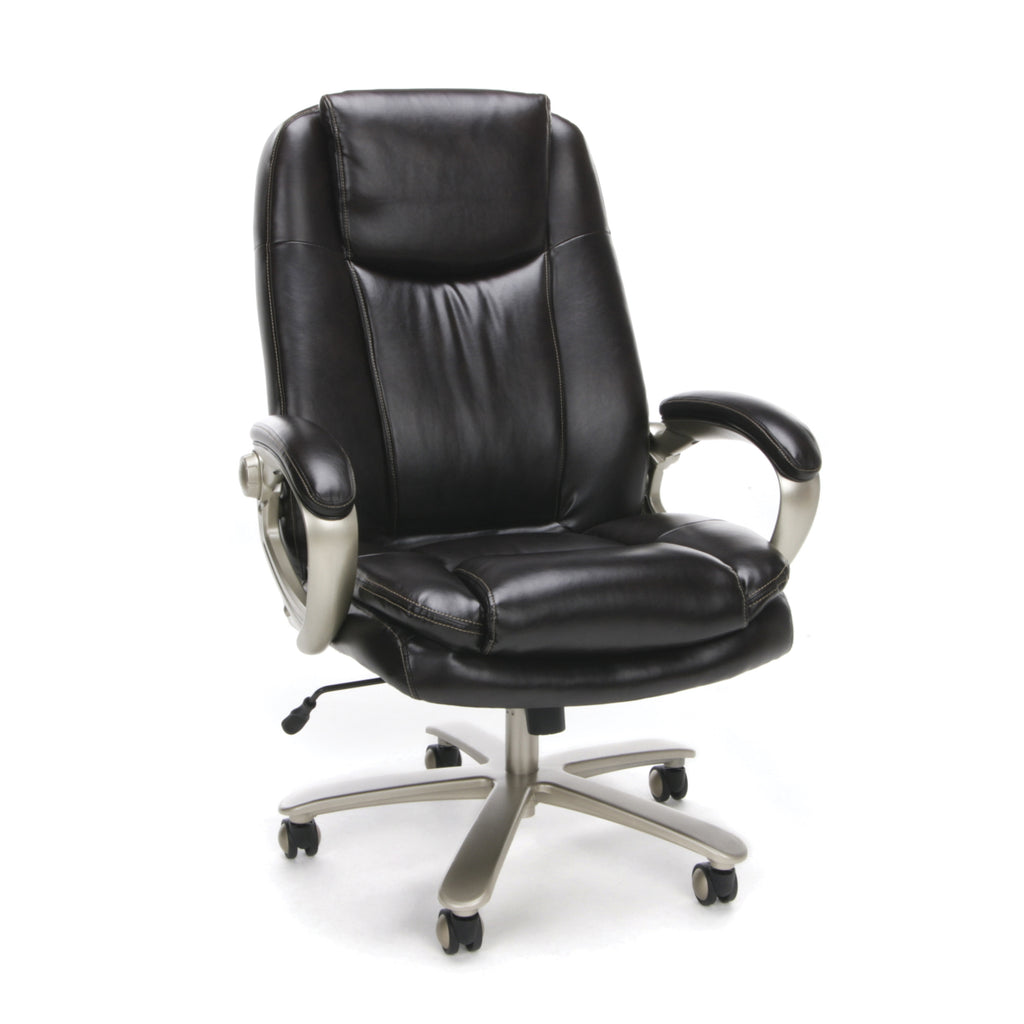 Essentials by OFM ESS-201 Big and Tall Leather Executive Office Chair with Arms, Brown/Bronze ; UPC: 845123080122 ; Image 1
