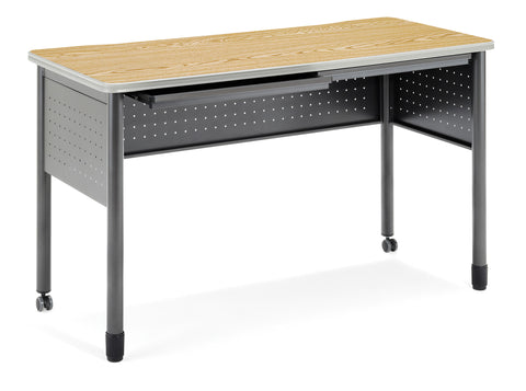 "OFM Mesa Series Model 66151 Standing Height Training Table and Desk with Drawers, 27.75"" X 59"", Oak ; UPC: 845123052891 ; Image 1"