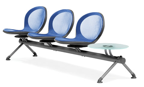 OFM Core Collection Model NB-4G - NET Series 3 Seats & 1 Table Beam in Marine ; UPC: 845123027066 ; Image 1