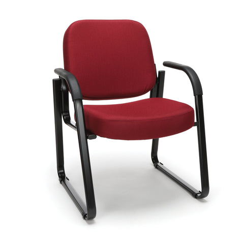 OFM Model 403 Fabric Guest and Reception Chair with Arms and Extra Thick Cushion, Wine ; UPC: 811588014132 ; Image 1