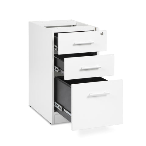 OFM Fulcrum Series Locking Pedestal, 3-Drawer Filing Cabinet, White (CL-BBF-WHT) ; UPC: 845123097434 ; Image 6