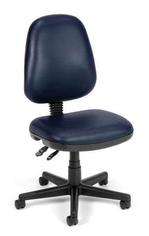OFM Straton Series Model 119-VAM Armless Swivel Task Chair, Anti-Microbial/Anti-Bacterial Vinyl, Mid Back, Navy ; UPC: 811588012657 ; Image 1