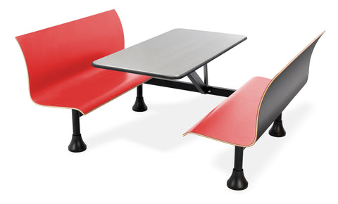 "OFM Model 1006W Retro Bench Table with End Support, 24"" Stainless Steel Top, Red Seats ; UPC: 845123027783 ; Image 1"