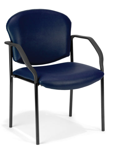OFM Manor Series Deluxe Vinyl Stacking Guest Chair, Navy ; UPC: 811588014064 ; Image 1