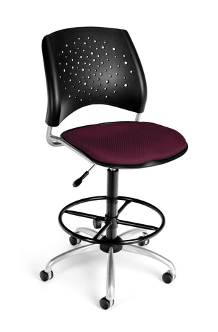 OFM Stars Series Model 326-DK Armless Fabric Swivel Task Chair and Drafting Kit, Burgundy ; UPC: 845123013472 ; Image 1
