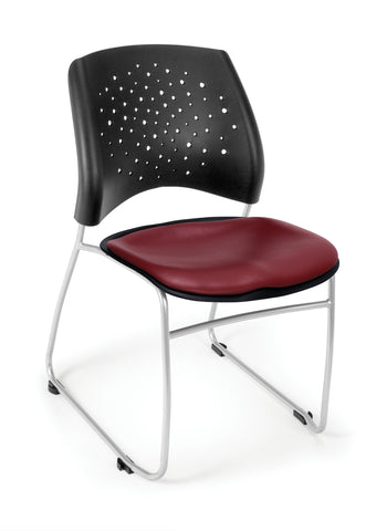 OFM Stars Series Model 325-VAM Anti-Microbial/Anti-Bacterial Vinyl Stack Chair, Wine ; UPC: 845123012321 ; Image 1