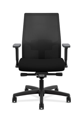 HON Ignition 2.0 Mid-Back Adjustable Lumbar Work Chair - Black Mesh Computer Chair for Office Desk, Black Fabric (HONI2M2AMLC10TK) ; UPC: 888206730743 ; Image 2