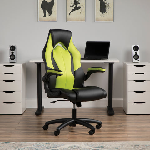 Essentials by OFM ESS-3086 High-Back Racing Style Bonded Leather Gaming Chair, Green ; UPC: 192767001205 ; Image 13