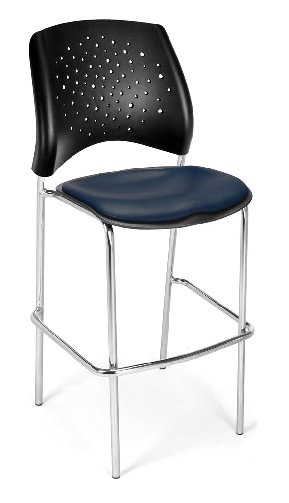 OFM 328C-VAM-605 Stars Cafe Height Vinyl Chrome Chair, Navy ; UPC: 845123004180 ; Image 1