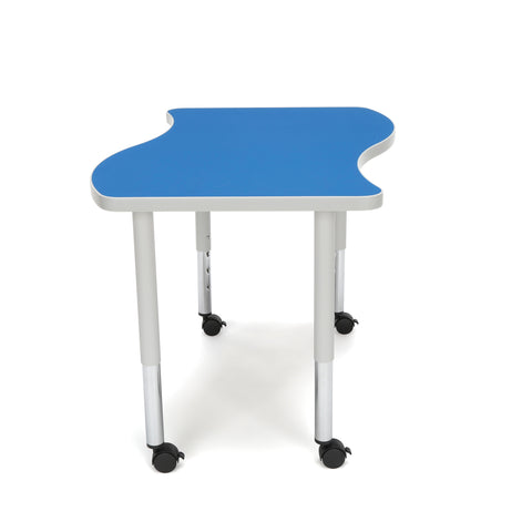 OFM Adapt Series Small Wave Student Table - 20-28? Height Adjustable Desk with Casters, Blue (WAVE-S-SLC) ; UPC: 845123096222 ; Image 4