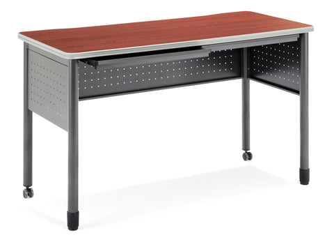 "OFM Mesa Series Model 66151 Standing Height Training Table and Desk with Drawers, 27.75"" X 59"", Cherry ; UPC: 845123052877 ; Image 1"