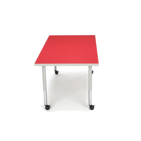 OFM Adapt Series Rectangle Student Table - 20-28? Height Adjustable Desk with Casters, Red (RECT-SLC) ; UPC: 845123096642 ; Image 4