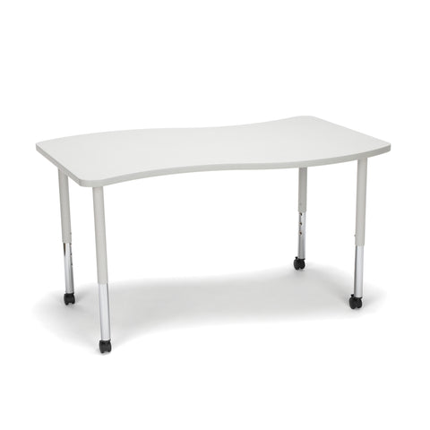 OFM Adapt Series Large Wave Standard Table - 25-33? Height Adjustable Desk with Casters, Gray Nebula (WAVE-L-LLC) ; UPC: 845123096154 ; Image 1
