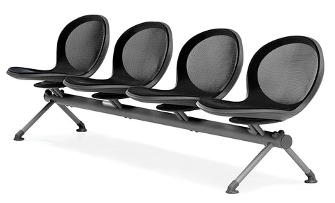 OFM NB-4-BLACK Net Series Beam Seating with 4 Chairs, Black ; UPC: 845123026847 ; Image 1