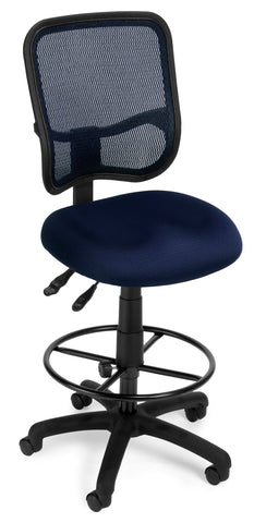 OFM Comfort Series Model 130-DK Ergonomic Mesh Swivel Armless Task Chair with Drafting Kit, Mid Back, Navy ; UPC: 845123011775 ; Image 1