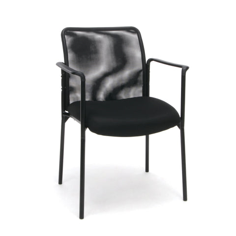 Essentials by OFM ESS-8010 Mesh Back Upholstered Side Chair with Arms, Black ; UPC: 845123089392 ; Image 1