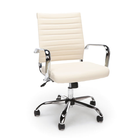 Essentials by OFM ESS-6095 Soft Ribbed Bonded Leather Executive Conference Chair, Ivory ; UPC: 845123095386 ; Image 1