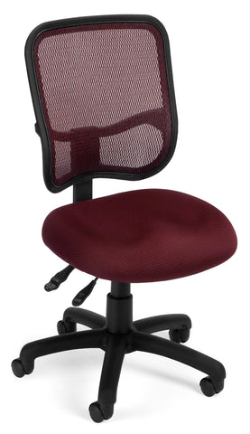 OFM Comfort Series Model 130 Ergonomic Mesh Swivel Armless Task Chair, Mid Back, Wine ; UPC: 845123012178 ; Image 1