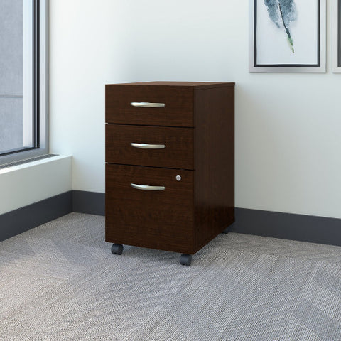 Bush Series C 3 Drawer Mobile Pedestal - Assembled, Mocha Cherry WC12953SU ; UPC: 042976359218 ; Image 2
