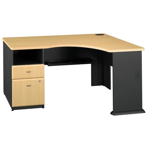 Bush Series A Single 2 Drawer Pedestal Corner Desk, Beech WC14328PA ; UPC: 042976089894 ; Image 1